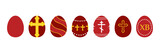 Set, collection of vector decorated red eggs for Orthodox Easter Day, Pascha or Resurrection Sunday. - 252399604