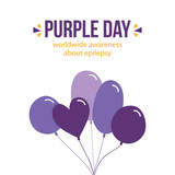 Vector flat design card, illustration with purple balloons about Purple Day, worldwide awereness about epilepsy. - 252399617