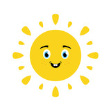 Cute cartoon style vector illustration of happy, smiling, joyful sun character for summer design. - 252399623