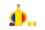 Vector cartoon illustration of tuica, traditional romanian spirit, alcoholic drink made of plums with two shot glasses. - 252399657