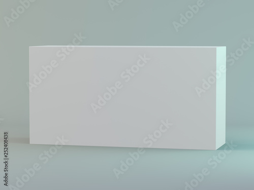 Blank horizontal box on white background with reflection. 3D
