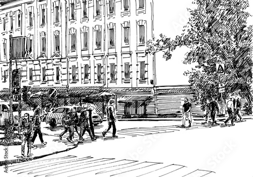 City street scene. Engrave sketch style illustration. - 252412067