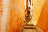 France Provence Roussillon narrow street. Stone steps up.