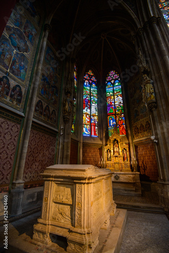 VIENNA, AUSTRIA - AUGUST 11, 2017: Interior of the Votive Church in Vienna. The church was consecrated in 1879 and is in Gothic revival style