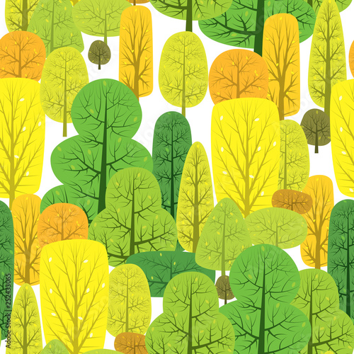 mata magnetyczna Vector illustration of seamless pattern with various autumn trees.