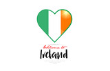 Welcome to Ireland country flag inside love heart creative logo design