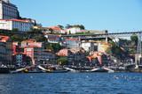 Fototapeta Miasto - Porto, Portugal, Europe. Old Town, view of the Don Luis Bridge on the Douro River, a tourist spot. © ksu_ok