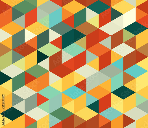 obraz PCV Seamless vector background with multicolored triangles. Geometric pattern.