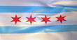 Chicago flag in the wind . 3d illustration