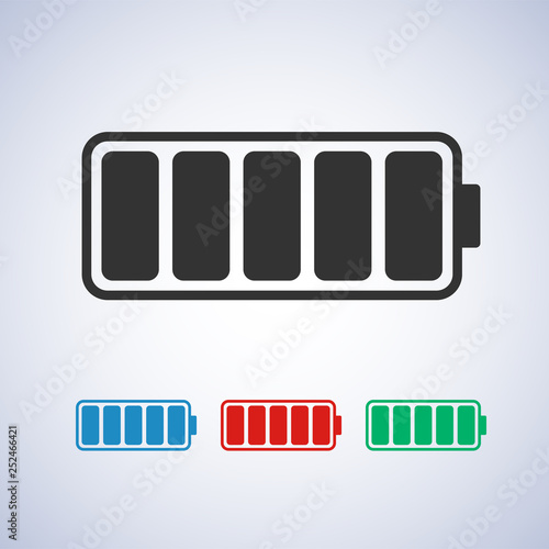 Charged Battery Icon In Different Colors Blue Red And Green Symbols