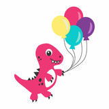 Fototapeta Dinusie - Happy cute pink dino cartoon character with balloons © Julia