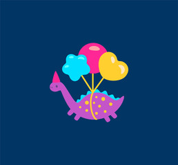 Funny cartoon dinosaurs with balloons illustration icon. Vector illustration