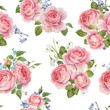 Watercolor rose vector pattern