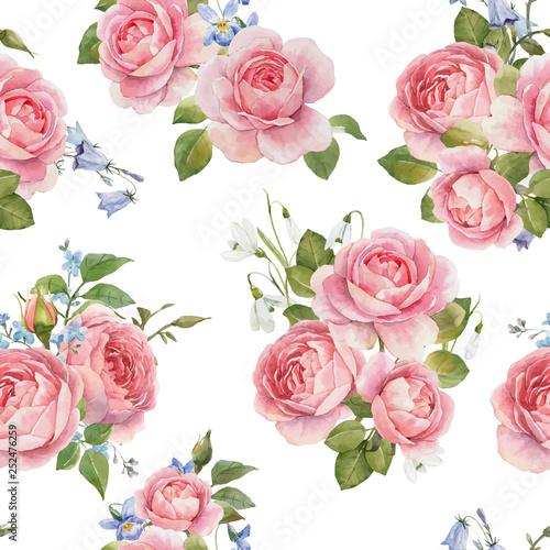 Watercolor rose vector pattern
