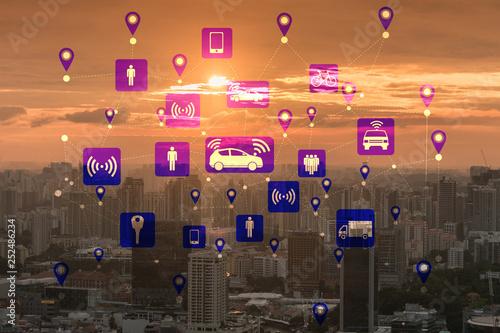 Leinwanddruck Bild Ridesharing and carpooling concept in the city