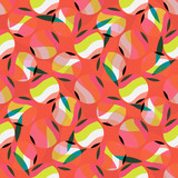 Abstract round seamless pattern. Seamless pattern with striped multicolored circles. Vector illustration. - 252489679