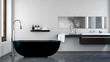 interior of modern bathroom with black bathtub - 252490219