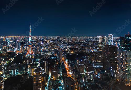 obraz lub plakat Aerial view of Tokyo Tower at night in Japan