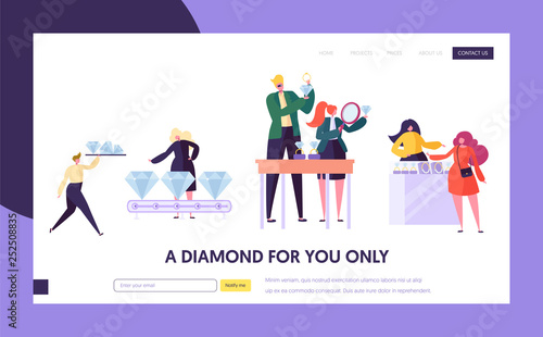 Jeweler Seller Hold Gem Landing Page. Woman Character Choose Luxury Diamond Ring at Store. Jewelry Industry Concept Website or Web Page. Wedding Symbol Flat Cartoon Vector Illustration © ivector
