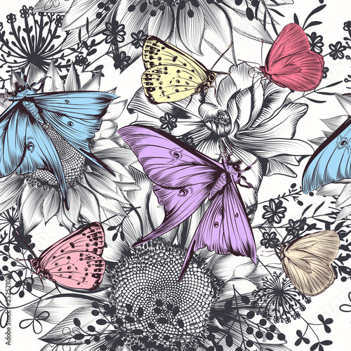 Fashion hand drawn with sunflowers and butterflies