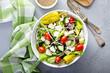 Leinwandbild Motiv Greek salad with feta cheese, vegetables and olives