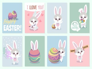 Easter rabbit cards. Baby rabbits cute and color eggs party invitation vector set