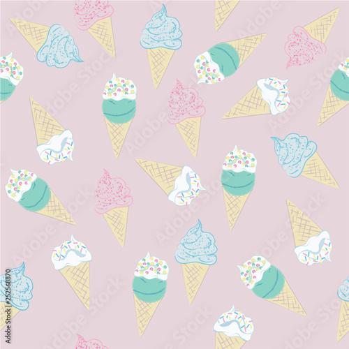 mata magnetyczna Muster aus Eiswaffeln in Pastellfarben. Vektor Datei eps 10