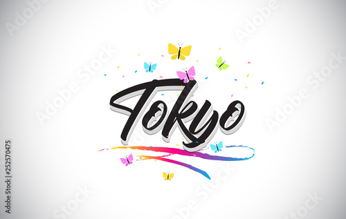 obraz lub plakat Tokyo Handwritten Vector Word Text with Butterflies and Colorful Swoosh.