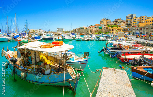 Boats in the old port of Heraklion, Crete, Greece.