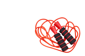 Red jumping rope for fitness and sport life. © Sviatoslav Kovtun