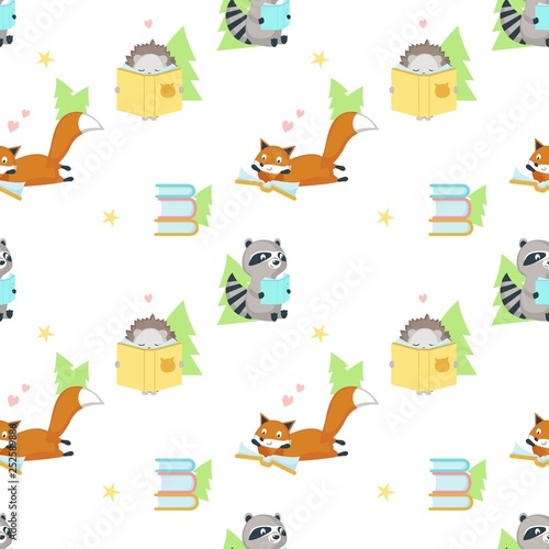 mata magnetyczna Vector seamless pattern with cute squirrel and bunny reading books. Funny reading animals background, wallpaper, fabric, wrapping paper