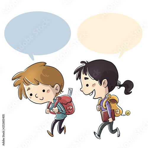 Leinwanddruck Bild niños estudiantes caminando al colegio
