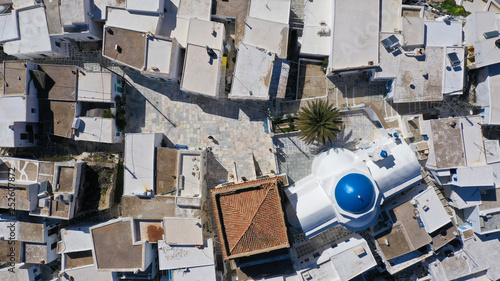 Aerial drone photo of picturesque main village or hora of Serifos island with breathtaking view to the Aegean sea in spring, Cyclades islands, Greece © fabdrone