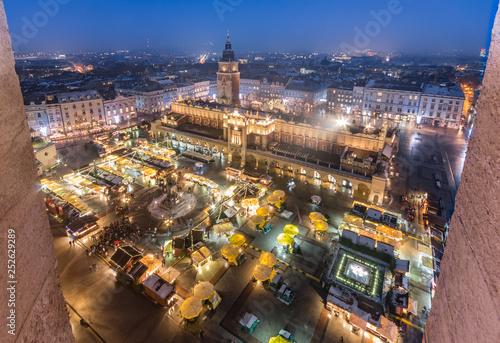 obraz PCV Krakow Poland main square with cloth hall and Christmas fairs aerial view