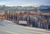 Sunny winter morning in snowy Tatra mountains