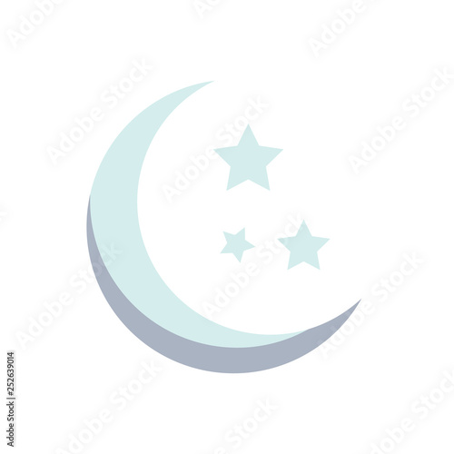 Moon and stars. Grey moon and stars isolated on white background. Vector stock.