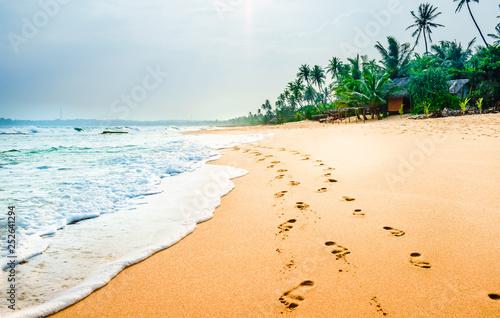 Leinwandbild Motiv View on foodprints at the tropical beach next of Tangalle - Sri Lanka
