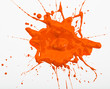 Blot and splashes of orange paint
