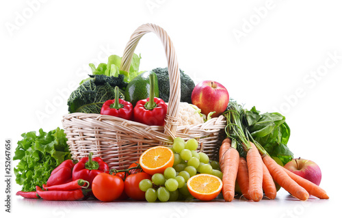 Fresh organic fruits and vegetables in wicker basket - 252647656