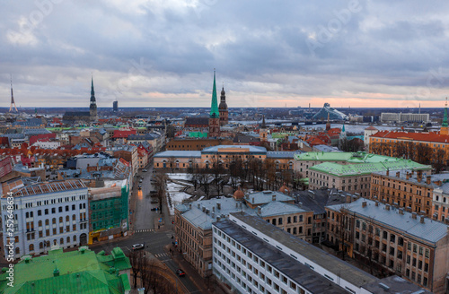 Aerial panoramic old town view of Riga, the capital of Latvia.  - 252648634