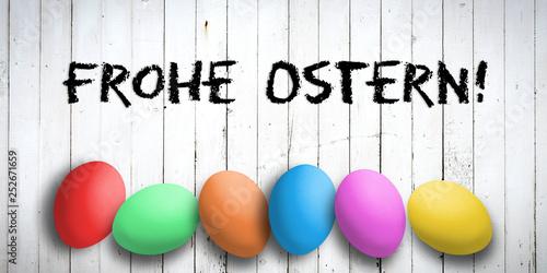 "Leinwandbild Motiv Ostereier mit Nachricht ""Frohe Ostern"""