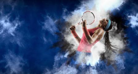 Female tennis player celebrating winner