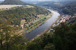 Top view of river in willage in Germany