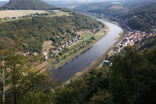 Foto Murales Top view of river in willage in Germany