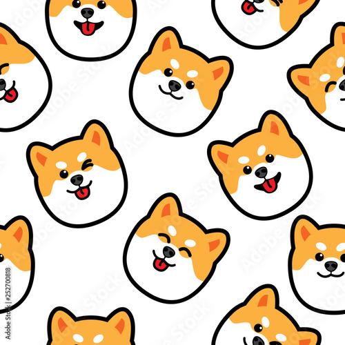 obraz PCV Cute shiba inu dog face seamless pattern, vector illustration