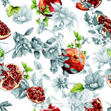 Seamless pattern. Pomegranate fruit, flowers and leaves. Stylized background. Hand drawn. Watercolor, vector - stock.