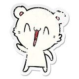 distressed sticker of a happy polar bear cartoon