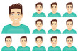 Young man with different facial expressions set vector illustration isolated