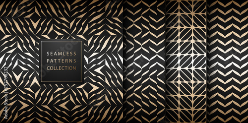 Seamless vector geometric golden element pattern set. Abstract background gold texture on black. Simple minimalistic dark print collection. Web page fill modern trellis grid. Trendy hipster geometry. - 252708232