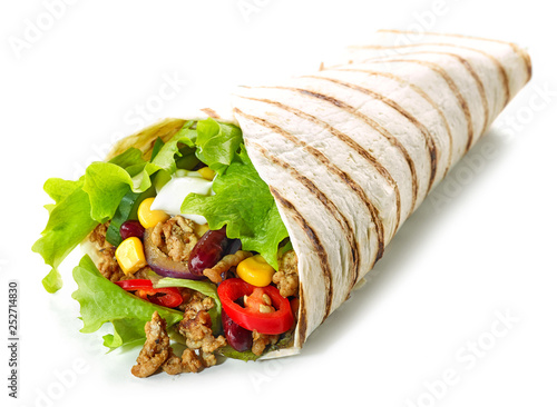 Tortilla wrap with fried minced meat and vegetables - 252714830